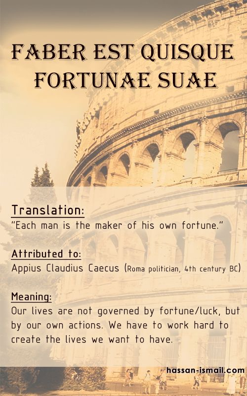 "Latin Quote: ""Faber est quisque fortunae suae"" - Appius Claudius Caecus  Translation: ""Each man is the maker of his own fortune.""  Meaning: Our lives are not governed by fortune/luck, but by our own actions. We have to work hard to create the lives we want to have."
