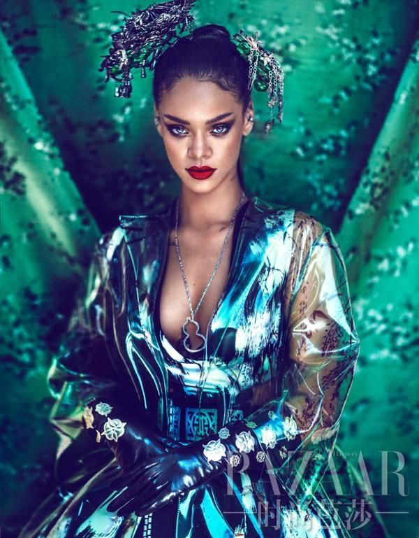 Following up her two covers, Harper's Bazaar China has released a preview from Rihanna's fashion shoot, and we must say, it looks like her dreamiest work yet. Wearing Eastern inspired fashions including a lovely updo, Rihanna poses in couture looks for the lens of Chinese photographer, Chen Man. Her red lips and bronzed eyeshadow shade serve as some major beauty inspiration.