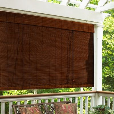 "Bamboo Roll-Up Blind with 6"" Valance, $26...thinking of getting something like this for the back porch area to replace the damaged screens"