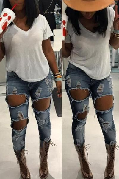 67a3b8ca2 Stylish Ripped Pencil Jeans for Women