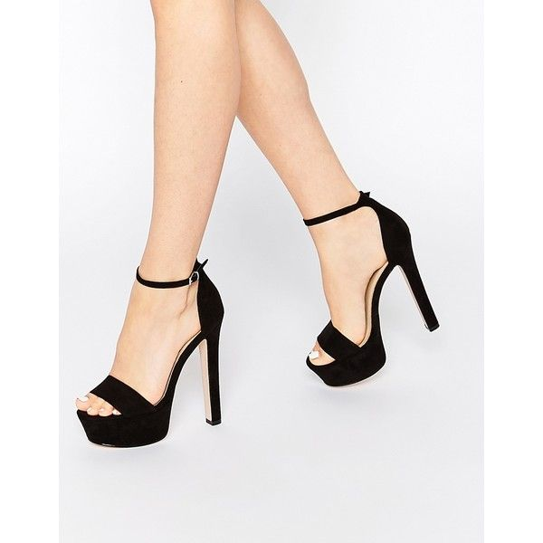 ASOS HICKORY Heeled Sandals (545 NOK) ❤ liked on Polyvore featuring shoes, sandals, black, heels, asos sandals, kohl shoes, platform heel sandals, black platform shoes and black sandals