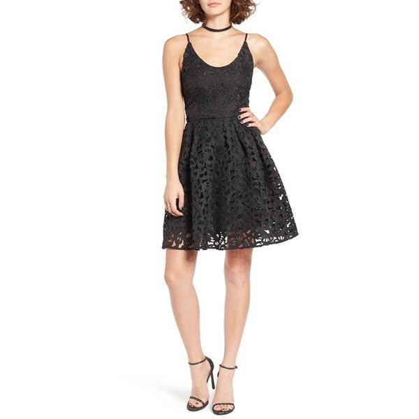 Women's A. Drea Laser Cut Lace Skater Dress ($88) ❤ liked on Polyvore featuring dresses, black, skater skirt dress, little black lace dress, skater dress, skater skirt and little black party dress