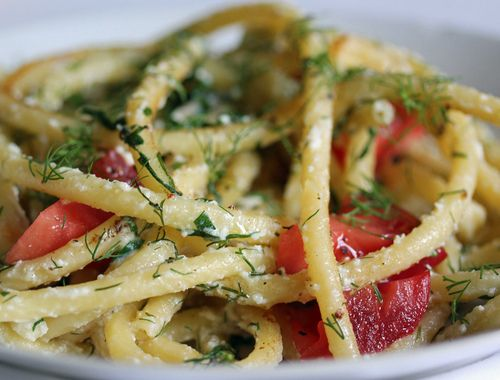 Bucatini Tossed with Brown butter Sauce, Ricotta, Fresh Basil & Tomatoes, and Dill