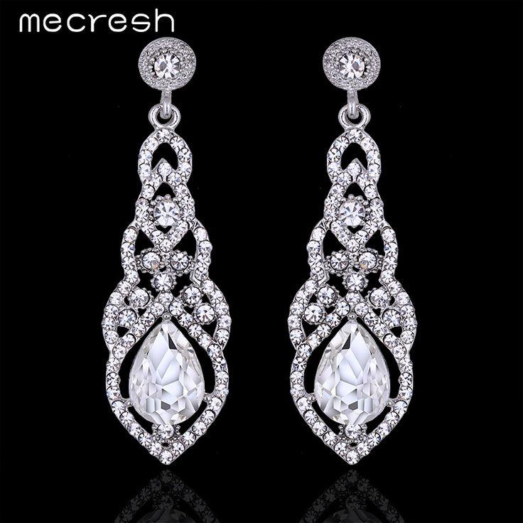 Mecresh Teardrop Crystal Wedding Long Earrings Silver Plated Elegant Bridal Engagement Jewelry Accessories EH444