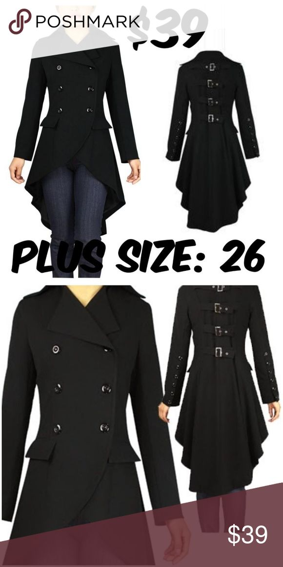 "Plus Size Steampunk Trench Coat Jacket Buckle Goth ITEM #295 PRICE: $39 BUST: 54"" WAIST: 46"" CONDITION: NEW #C4 Jackets & Coats Trench Coats"