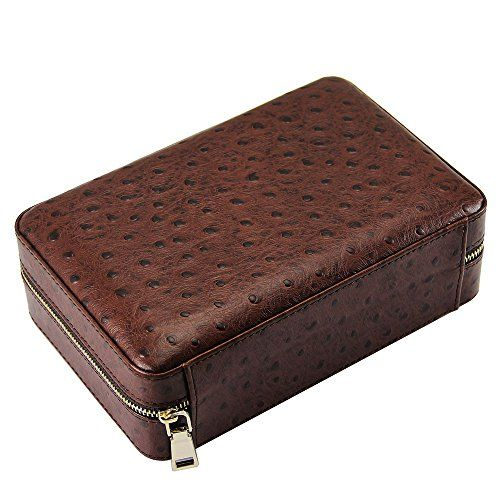 4 Count Ostrich Pattern Leather Cedar Cigar Travel Case Humidor Lighter Cutter Set ** Click on the image for additional details.