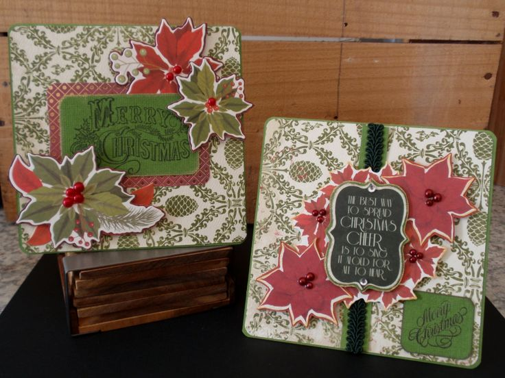 love these christmas cards, great paper nice and bright with kaisercraft collectables and merry christmas stamp. poinsettias, pinecone, red, green, pearls, ribbon