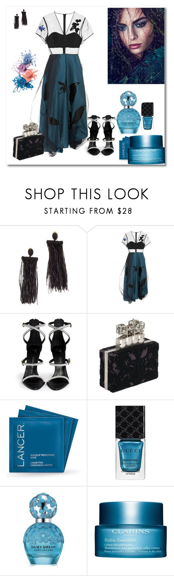 """""""Senza titolo #511"""" by robbys73 ❤ liked on Polyvore featuring Oscar de la Renta, Jonathan Saunders, Giuseppe Zanotti, Alexander McQueen, Lancer Dermatology, Gucci, Marc Jacobs and Clarins"""
