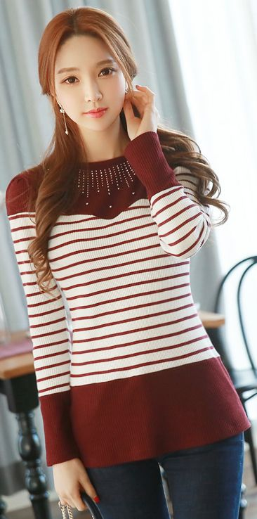 StyleOnme_Stripe Cubic Neckline Round Neck Tee #wine #red #koreanfashion #casual #everyday #dailywear #stripe #feminine #kfashion #seoul #kstyle #tee
