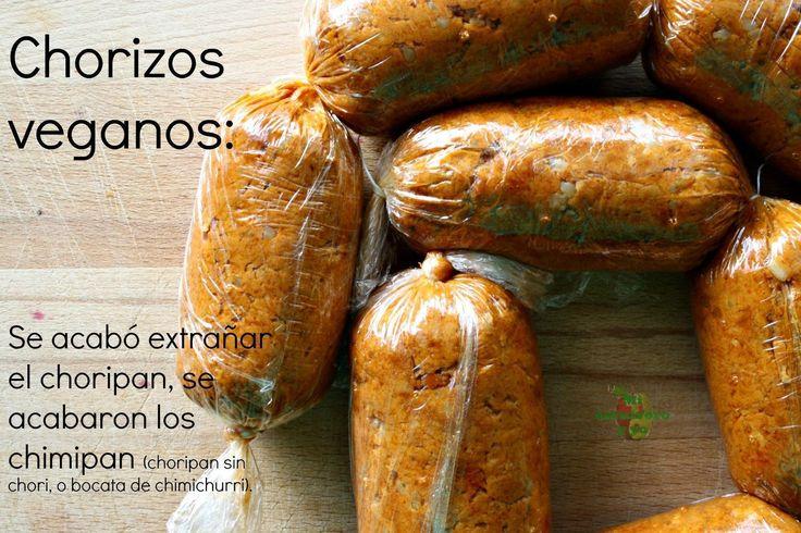 Chorizos veganos con seitán, soja y especias.