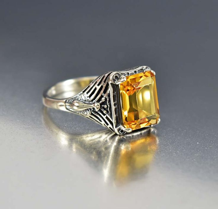 Stunning Sterling Silver Peacock Citrine Engagement Ring Art Deco Style