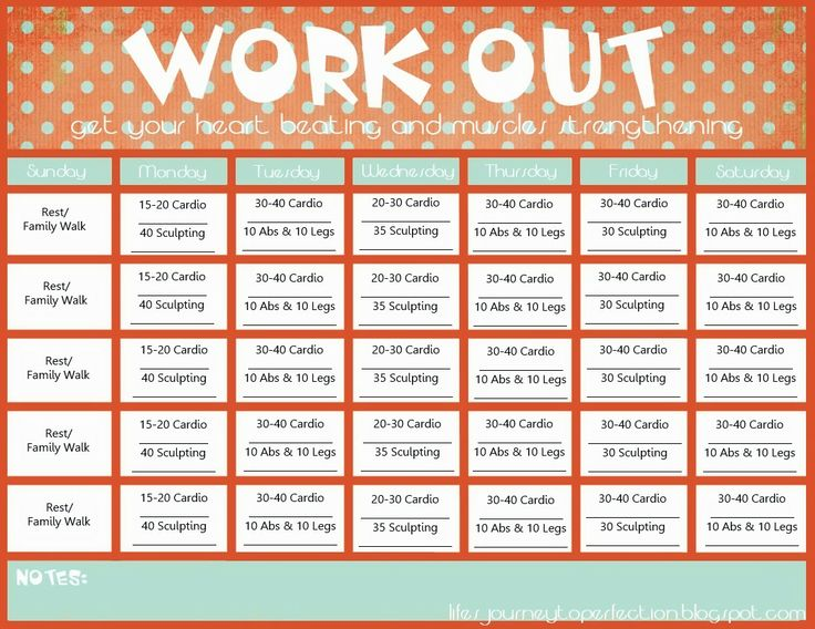 Workout Calendar Template Free Printable Workout Chart Pdf From