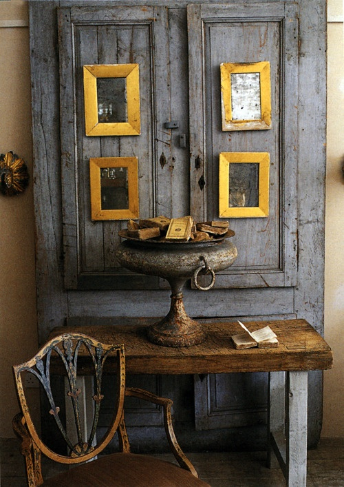 love the grey with yellow gold and rustic wood