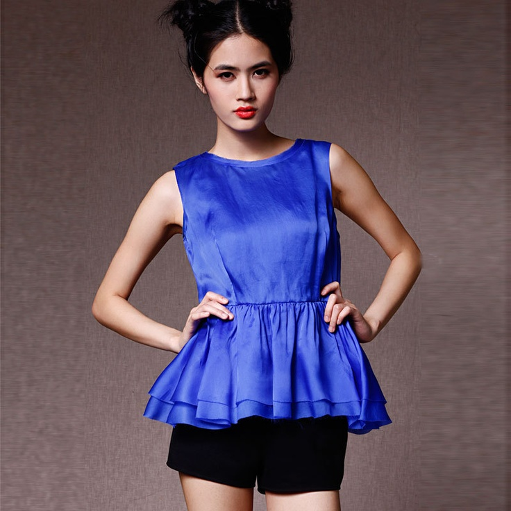 satin peplum blouse-www.shirtskey.com