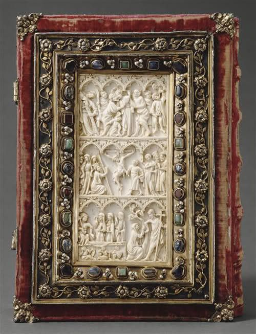 Manuscript painting and bookbinding: Dionysius the Areopagite, Works 14th Century  Constantinople between 1403-1405. Binding: Paris, circa 1360 and end of the 14th, rebuilt in the 17th century. Offered by the Emperor Manuel II Palaeologus to the abbey of Saint-Denis