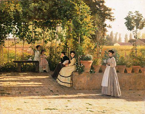 Sous la pergola - 1868 - Silvestro Lega - MILAN Pinacoteca di Brera).