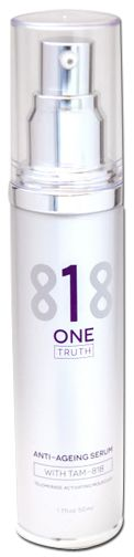 Anti Aging Serum One Truth 818 50ml bottle with pump top.