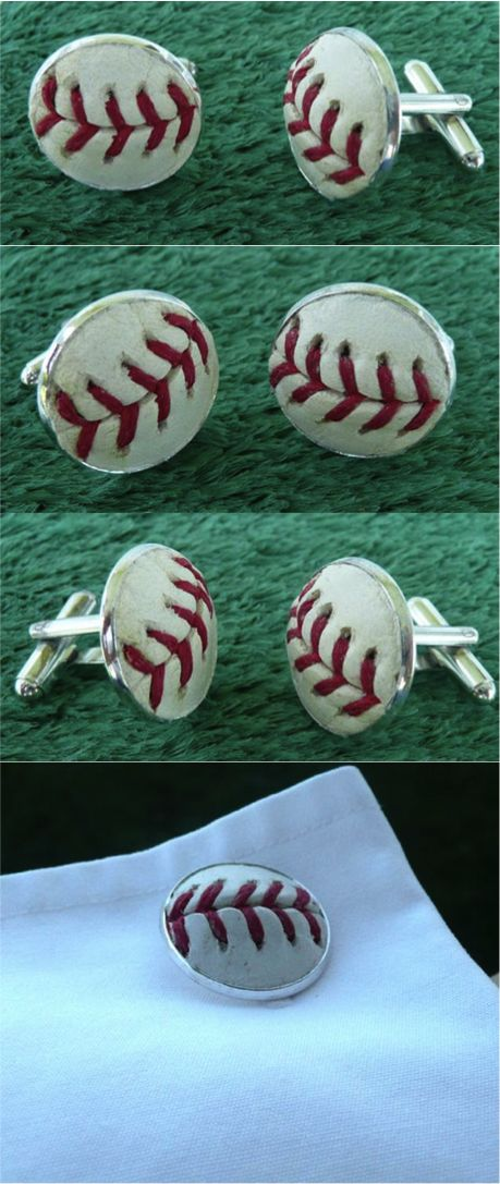 Perfect for that die-hard baseball fan, these handmade cufflinks are created using a real baseball, the same kind that your favorite players use. I can use a random baseball to make these or you can send me one that has special meaning to you and I'll use that (like a foul ball that you caught). | Made by people who care on Hatch.co