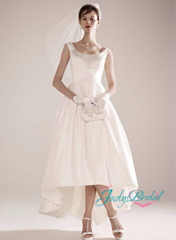Jol119 simple vintage high low ankle length wedding dress for Simple ankle length wedding dresses