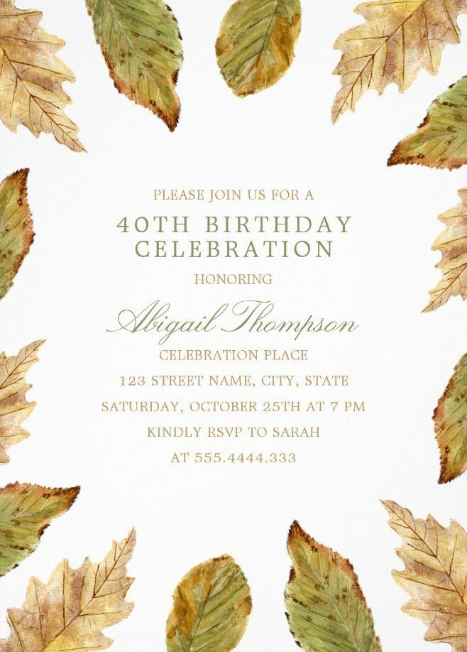 Fall Leaves 40th Birthday Invitations