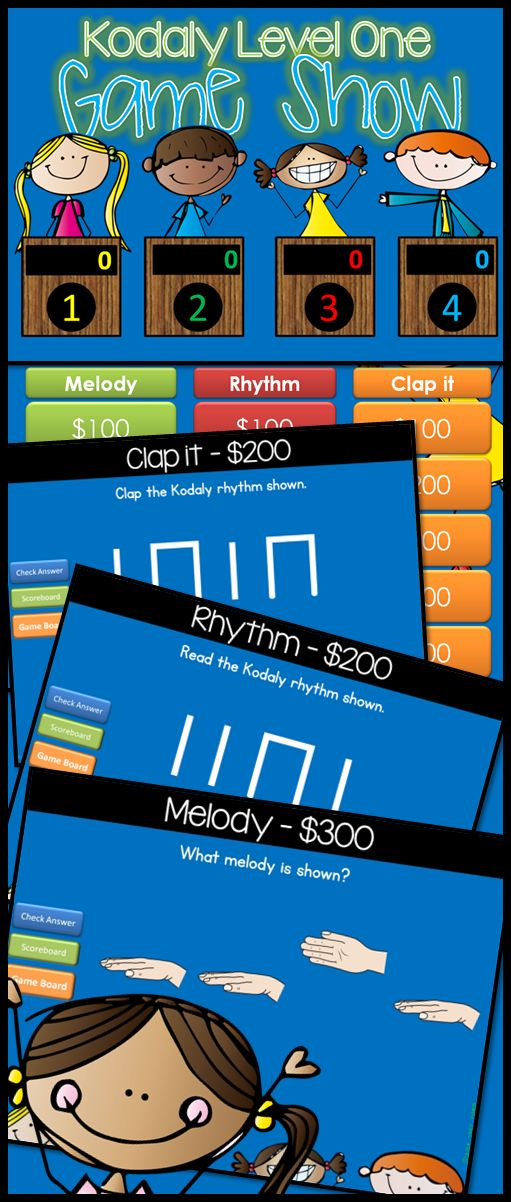 Kodaly First Grade Jeopardy style game show! Excellent practice for reviewing 1st Grade level Kodaly concepts. With 15 practice problems, in a game show setting, your students will get lots of review.  Level One includes ta, ti-ti, rest, sol, mi, la $