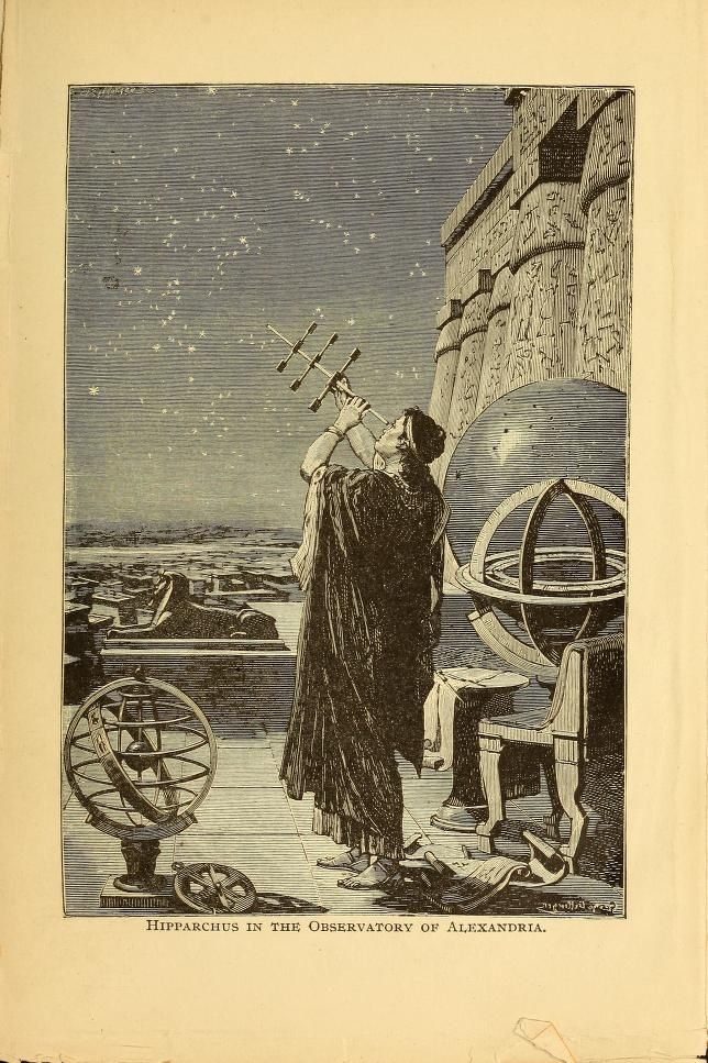 """Hiparchus in the Observatory of Alexandria"" 1898, The story of the sun, moon, and stars"