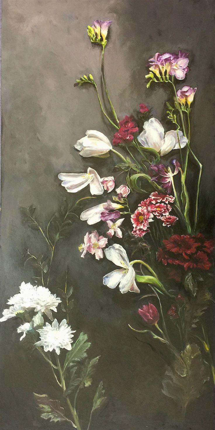 Jasmyn - Black Flowers. Truro College Fine Art - Exam piece 2017