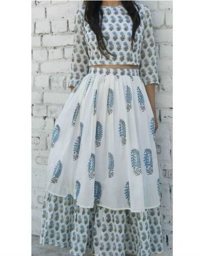 Block Printed Crop Top And Skirt Set