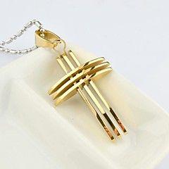 Per uomo Collane con ciondolo Acciaio al titanio Placcato in oro A croce Di tendenza Oro Argento Oro/Argento GioielliQuotidiano Casual