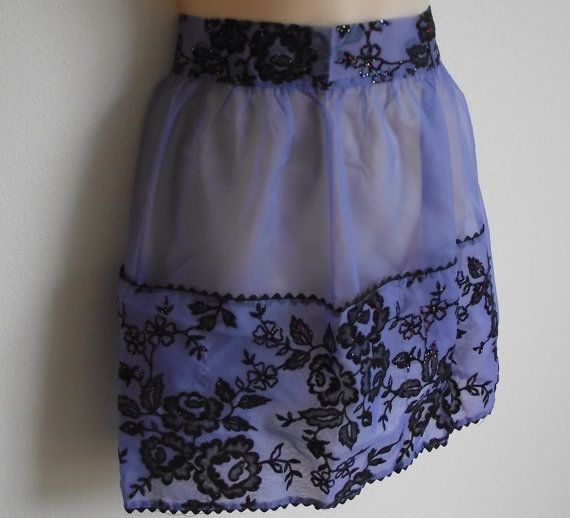 Vintage apron blue organza & sequin beads fancy by divasvintage, $15.00