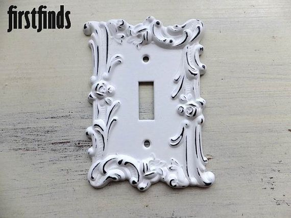 White Vintage Rose Shabby Chic Electrical Switch Plate Cover Cottage Metal Wall Hardware Single Light Flower Shabby Chic Decor Painted on Etsy, $14.00