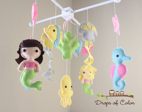 """Baby Crib Mobile - Baby Mobile - Nursery Crib Mobile - Ocean Mobile """"BIG Under the Sea Creatures"""" (You can Pick your colors) on Etsy, $95.00"""