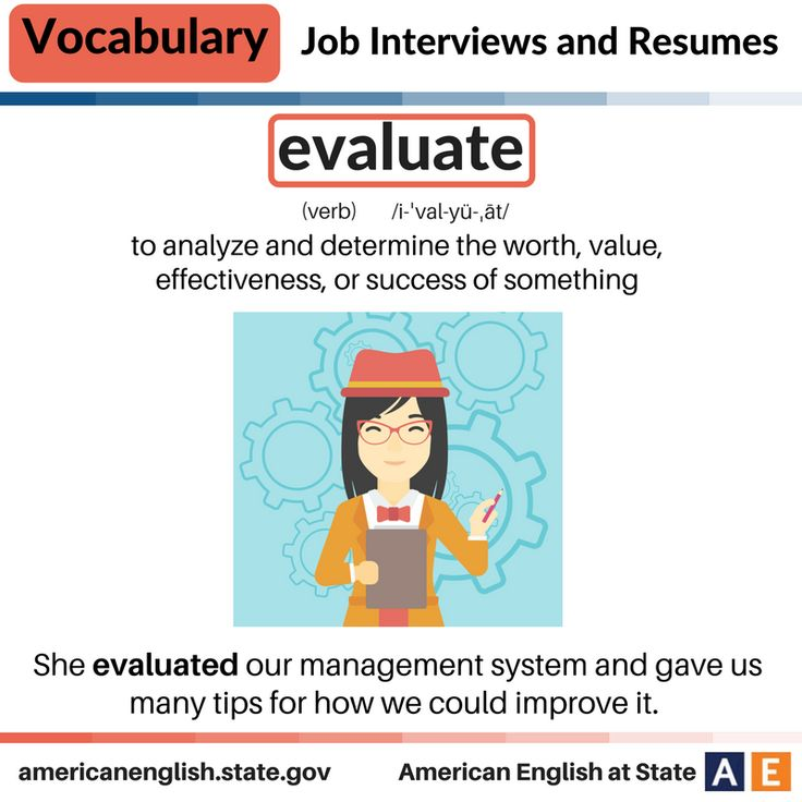 Vocabulary: Job Interviews and Resumes - Evaluate