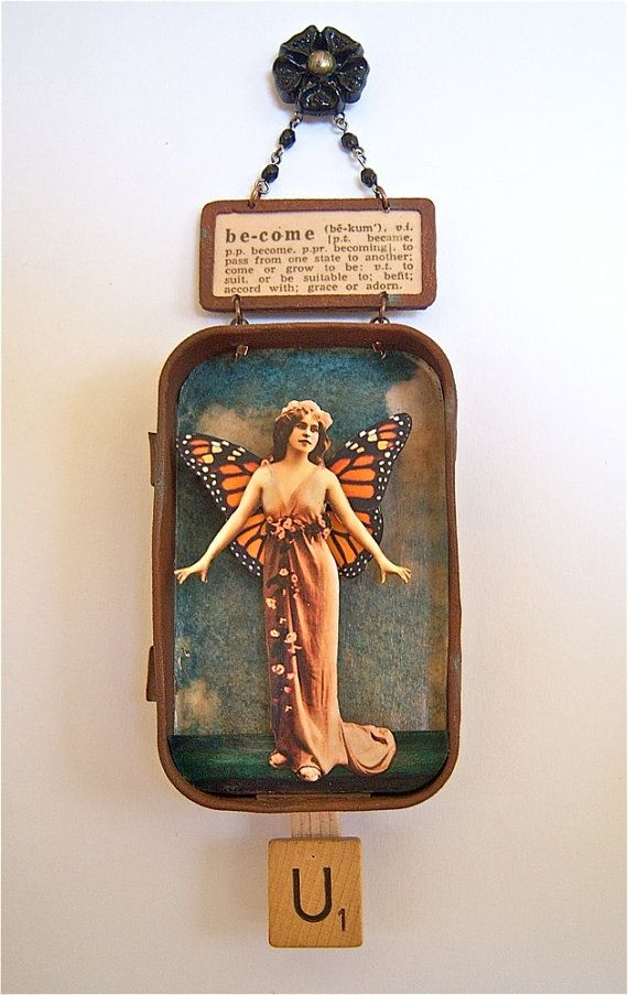 mixed media assemblage by shadesoflimonium on etsy-works like a jumping jack, pull the scrabble tile and the wings move up and down. Love it.