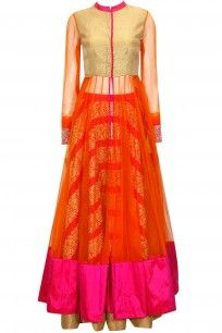 Pink embroidered lehenga with orange kalidaar jacket and dupatta