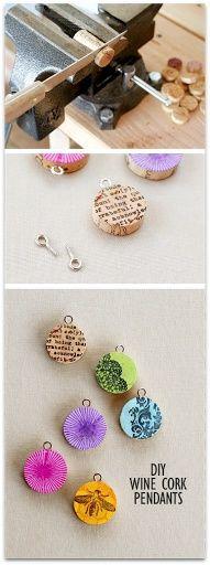 DIY wine cork pendants