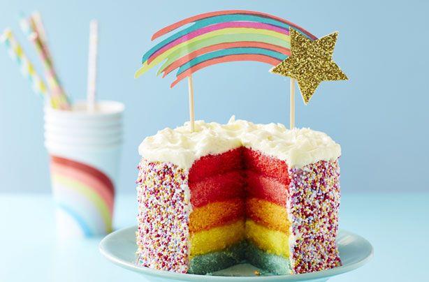 Peachy Rainbow Layer Cake Recipe Rainbow Layer Cakes Easy Rainbow Personalised Birthday Cards Paralily Jamesorg