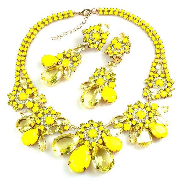 "Parisienne Bloom ~ Necklace Set ~ Taste of Yellow. Exclusive rhinestone necklace set hand created from clear crystal rhinestones and bunch of smaller Preciosa stones and components. Length of necklace 15.50"" and extender 2.50"", length of clips-on earrings. Price: $99.90"
