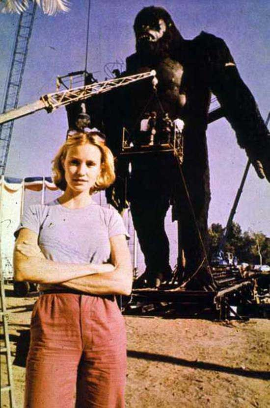 Jessica Lange on the set of the 1976 King Kong.