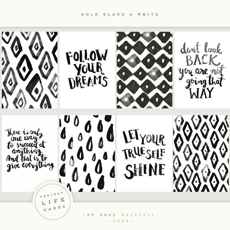 Bold Black and White Project Life cards Personal Use Only