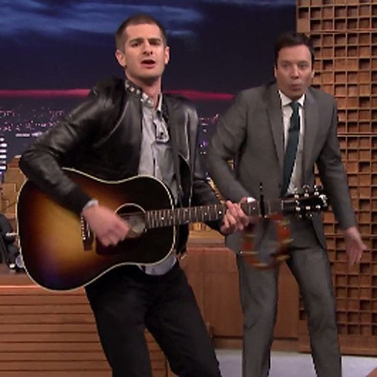 Andrew Garfield Couldn't Be Cuter Singing the Spider-Man Theme Song: Andrew Garfield managed to top his girlfriend Emma Stone's epic lip-sync battle on The Tonight Show Starring Jimmy Fallon by showing off his real singing skills on Thursday night.
