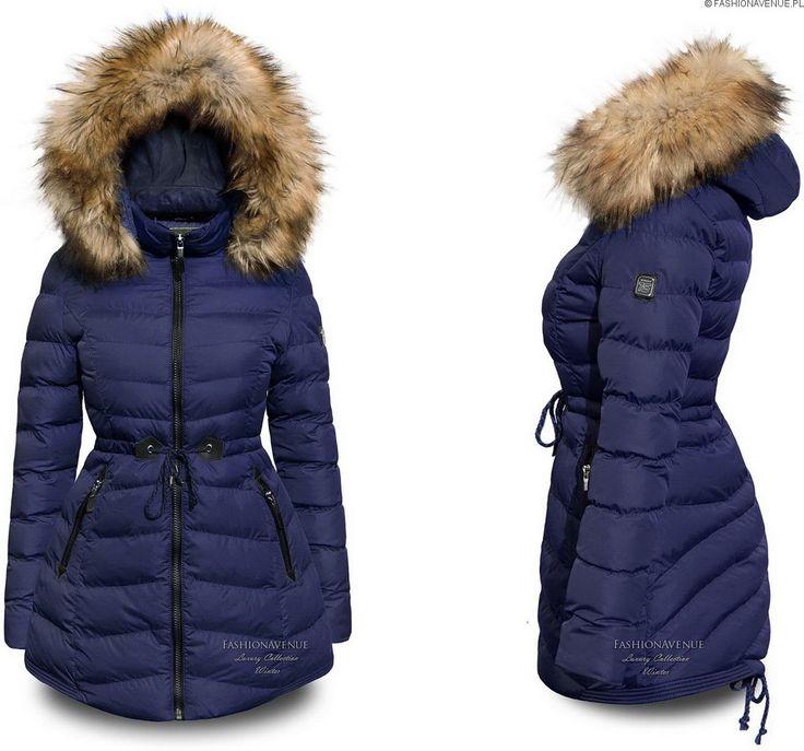 Kurtka damska zimowa parka futerko jenot ocieplana puchówka asymetryczna kaptur taliowana #109 @fashionavenuePL