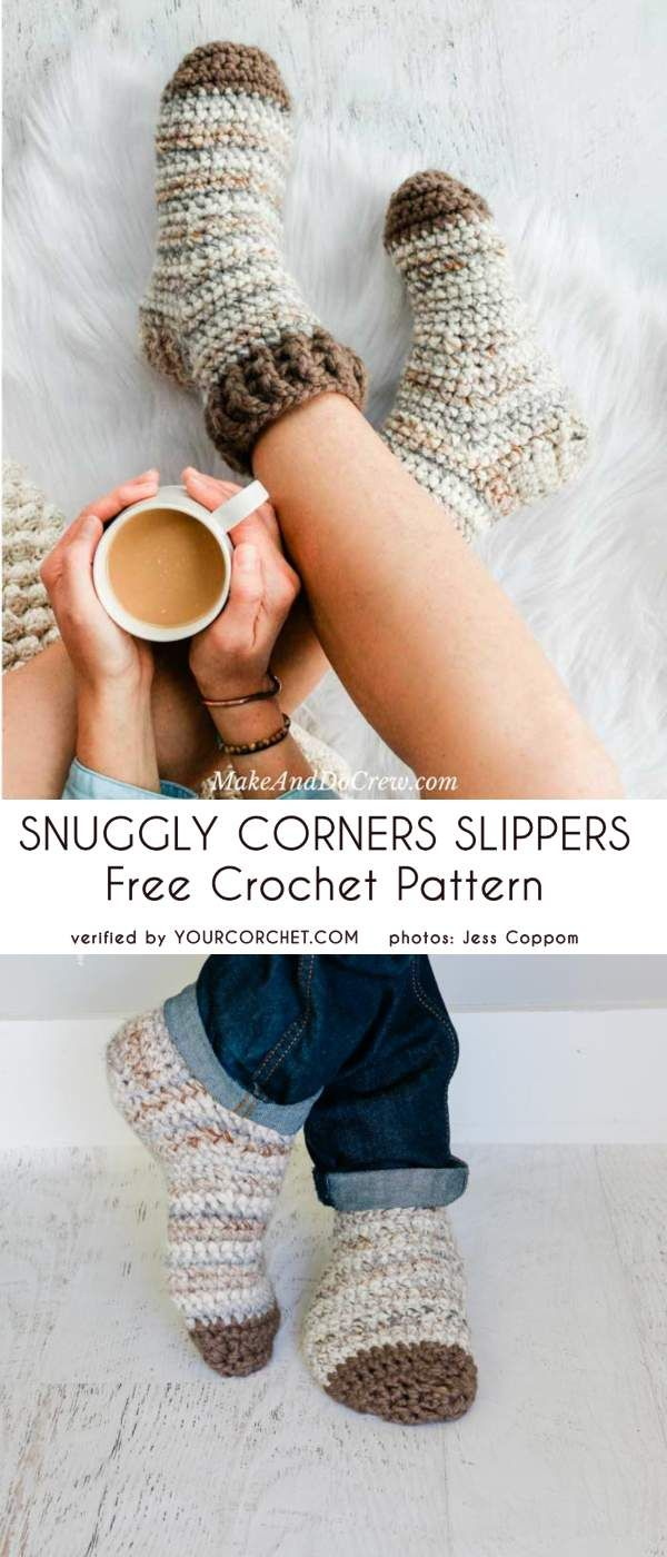 Snuggly Crochet Slippers Meias Padrão Livre