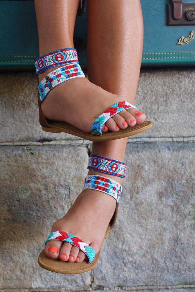 Image of Mayan Beaded Sandals - yellow or blue