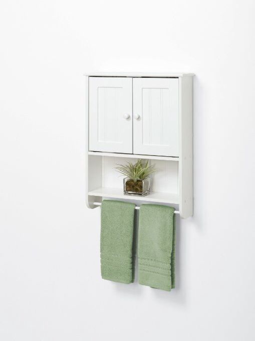 Bath Cabinet Storage Towel Holder Stylish White Wood Wall Organizer Shelf Unit  #Zenith