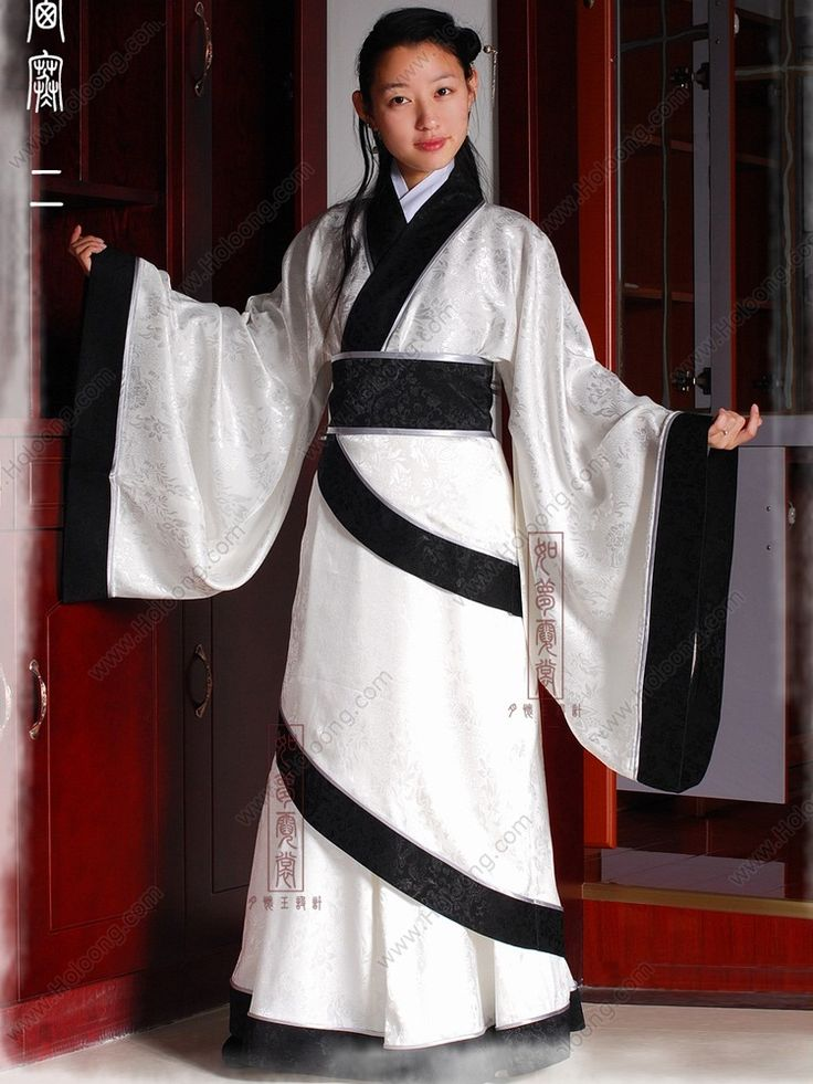 Women's Jacquard satin White Curved hem dress Wide sleeves Shang Dynasty Hanfu Clothing - USD $ 279.00