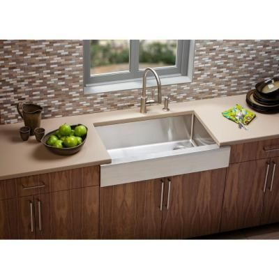 Elkay Crosstown Farmhouse Apron Front Stainless Steel 36 In. Single Bowl  Kitchen Sink