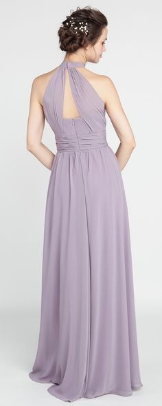 Long Chiffon Mauve Bridesmaid Dress with Halter Neckline #2018dresses #bridesmaiddresses #bridalparty