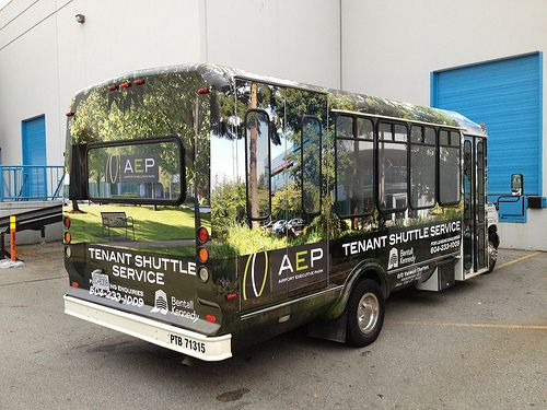 AEP Shuttle Bus Wrap - Full Side. Produced by FASTSIGNS Vancouver for Impark Vancouver.  www.fastsigns.com/653