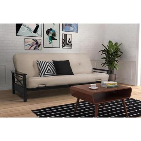 White Leather Sofa DHP Nadine Metal Futon Frame with Espresso Wood Armrests Walmart